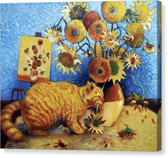 Famous Artists Canvas Print - Van Gogh's Bad Cat by Eve Riser Roberts