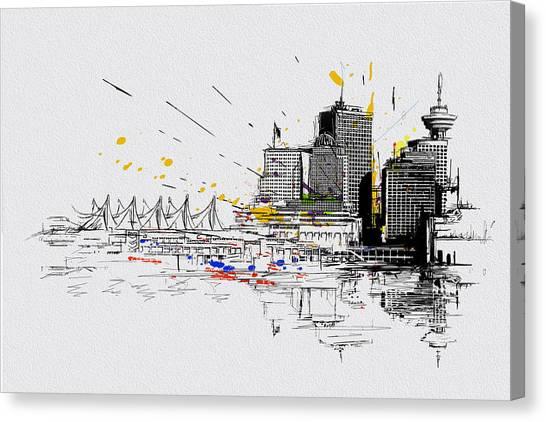 Vancouver Skyline Canvas Print - Vancouver Art 004 by Catf