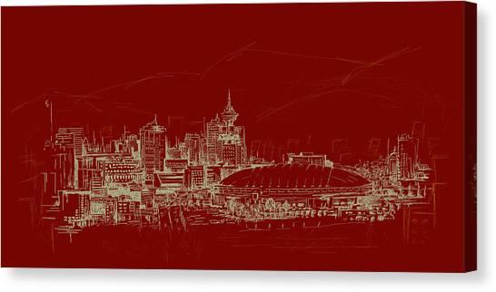 Vancouver Skyline Canvas Print - Vancouver Art 007 by Catf