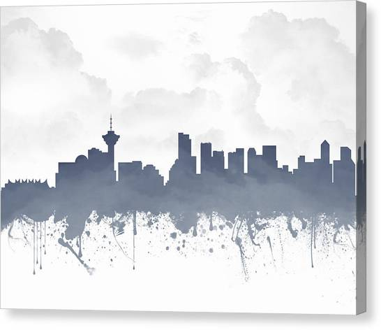 Vancouver Skyline Canvas Print - Vancouver British Columbia Skyline - Blue 03 by Aged Pixel