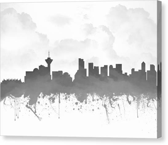 Vancouver Skyline Canvas Print - Vancouver British Columbia Skyline - Gray 03 by Aged Pixel