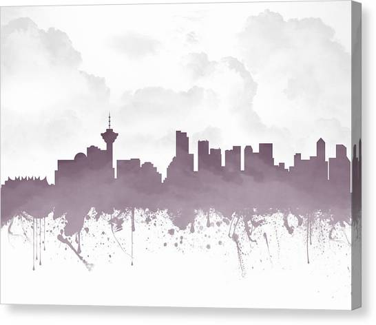 Vancouver Skyline Canvas Print - Vancouver British Columbia Skyline - Purple 03 by Aged Pixel
