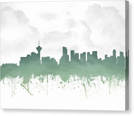 Vancouver Skyline Canvas Print - Vancouver British Columbia Skyline - Teal 03 by Aged Pixel