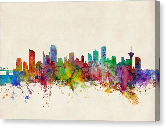 Canada Canvas Print - Vancouver Canada Skyline by Michael Tompsett