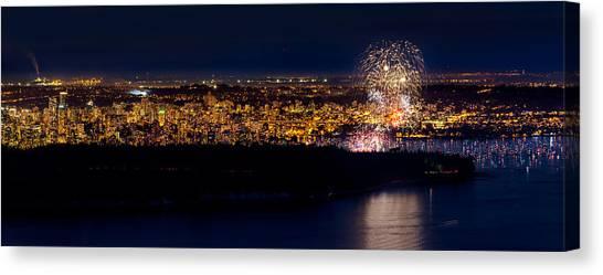 Vancouver Skyline Canvas Print - Vancouver Celebration Of Light Fireworks 2013 - Day 3 by Alexis Birkill