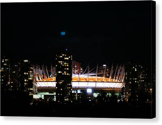 Vancouver Canucks Canvas Print - Vancouver Dome Nightshot by Mark Ward