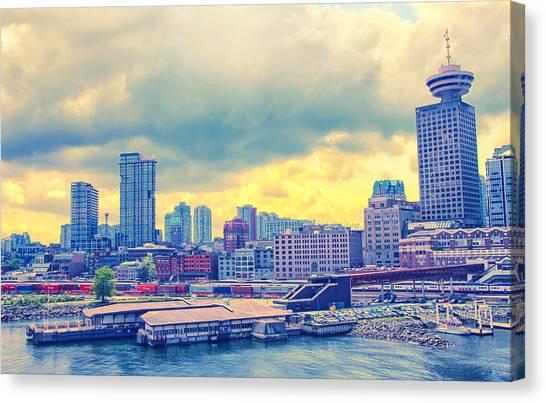 Vancouver Skyline Canvas Print - Vancouver Glows Lighter by Freya Doney