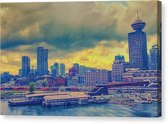 Vancouver Skyline Canvas Print - Vancouver Glows Yellow by Freya Doney