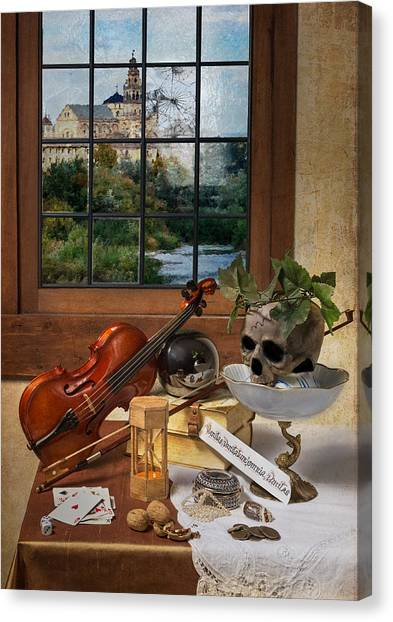 Vanitas With Music Instruments And Window Canvas Print