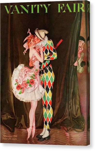 Vanity Fair Cover Featuring A Harlequin Canvas Print by Frank X. Leyendecker