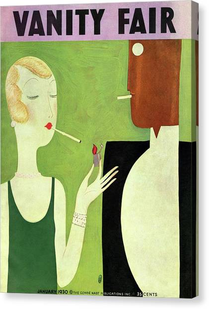 Vanity Fair Cover Featuring A Man And Woman Canvas Print by Eduardo Garcia Benito