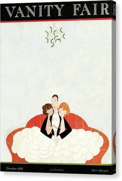 Mistletoe Canvas Print - Vanity Fair Cover Featuring A Man With A Girl by A. H. Fish