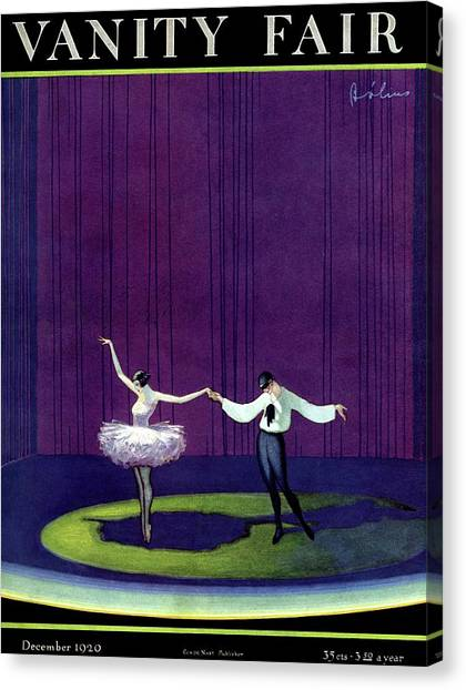 Vanity Fair Cover Featuring A Masked Male Dancer Canvas Print by William Bolin