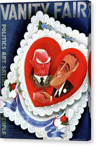Franklin D. Roosevelt Canvas Print - Vanity Fair Cover Featuring A Valentine by Miguel Covarrubias