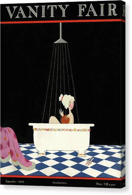 Vanity Fair Cover Featuring A Woman In A Bathtub Canvas Print
