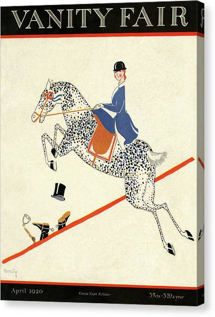 Vanity Fair Cover Featuring A Woman On A Horse Canvas Print by Aline Farrelly