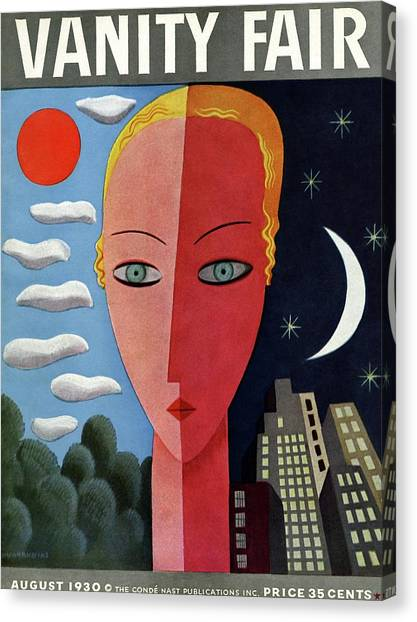 Vanity Fair Cover Featuring A Woman's Face Split Canvas Print by Miguel Covarrubias