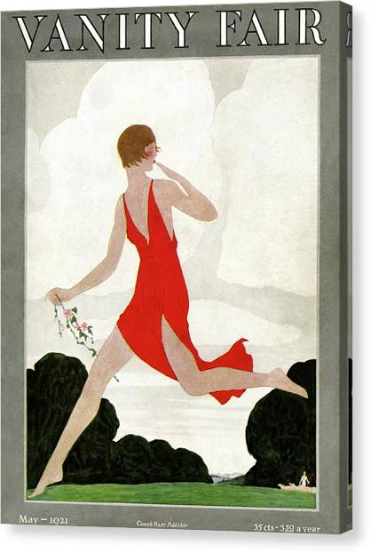 Running Backs Canvas Print - Vanity Fair Cover Featuring A Young Woman by Andre E Marty