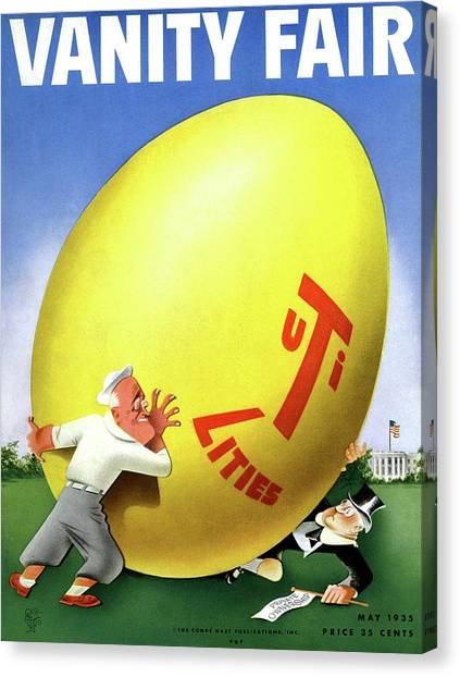 Franklin D. Roosevelt Canvas Print - Vanity Fair Cover Featuring Easter Egg Rolling by Paolo Garretto