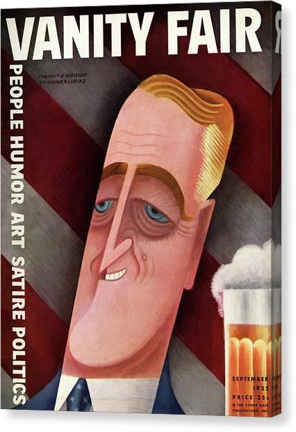 Franklin D. Roosevelt Canvas Print - Vanity Fair Cover Featuring Franklin D. Roosevelt by Miguel Covarrubias