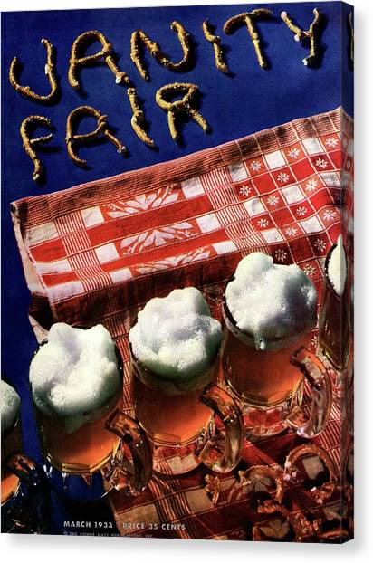 Vanity Fair Cover Featuring Glasses Of Beer Canvas Print by Anton Bruehl