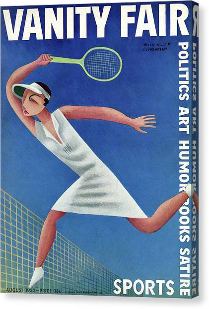 Vanity Fair Cover Featuring Helen Wills Playing Canvas Print