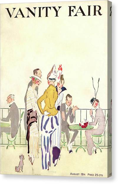 Vanity Fair Cover Featuring People At An Outdoor Canvas Print by Ethel Plummer