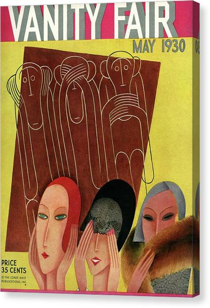 Vanity Fair Cover Featuring Three Monkeys Canvas Print by Miguel Covarrubias