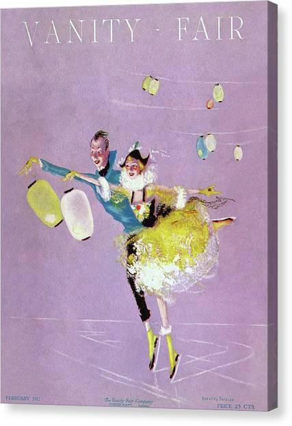 Figure Skating Canvas Print - Vanity Fair Cover Featuring Two Ice Skaters by Dorothy Ferriss