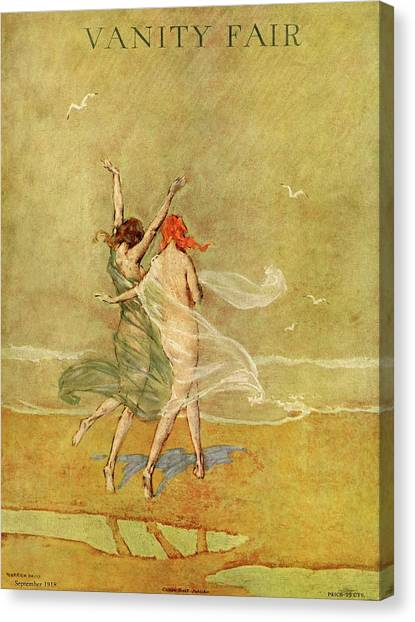 Vanity Fair Cover Featuring Two Nymphs Canvas Print by Warren Davis