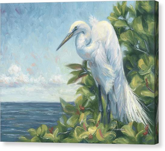 Egret Canvas Print - Vantage Point by Lucie Bilodeau