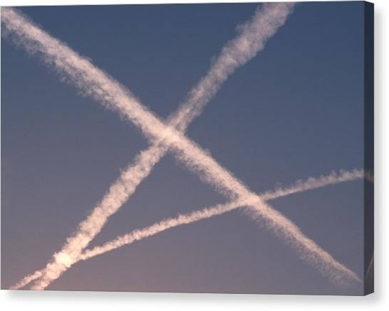 Air Traffic Control Canvas Print - Vapour Trails by Gary Parker/science Photo Library