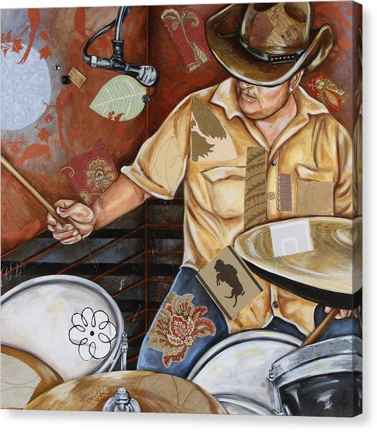 Vaquero De The Drums Canvas Print