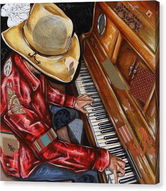 Vaquero De The Piano Canvas Print