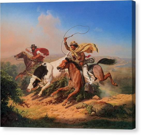 Early Christian Art Canvas Print - Vaqueros Roping A Steer by Charles Christian Nahl