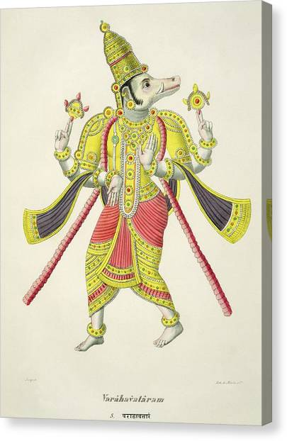 Incarnation Canvas Print - Varaha, Engraved By De Marlet by French School