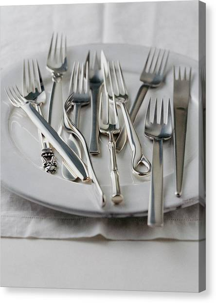 Various Forks On A Plate Canvas Print