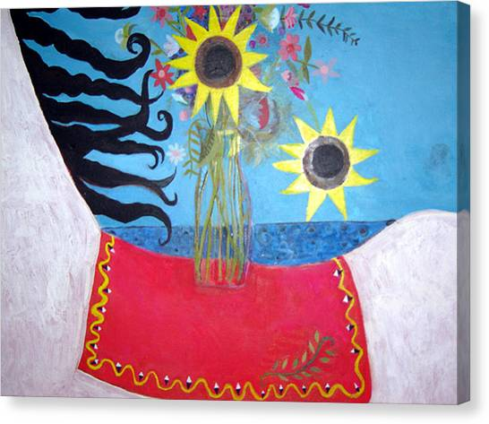 Saddles Canvas Print - Vase And Saddle by Caroline Blum