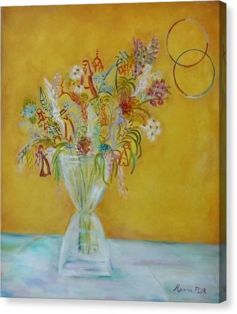 Vase Flowers Canvas Print by Hanna Fluk