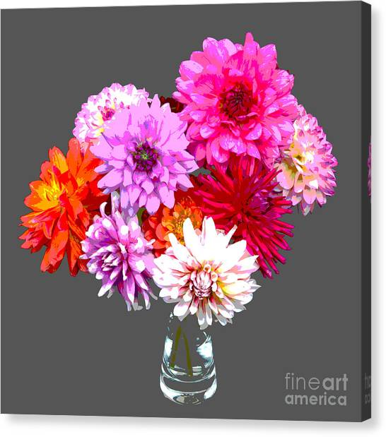 Vase Of Bright Dahlia Flowers Posterized Canvas Print by Rosemary Calvert