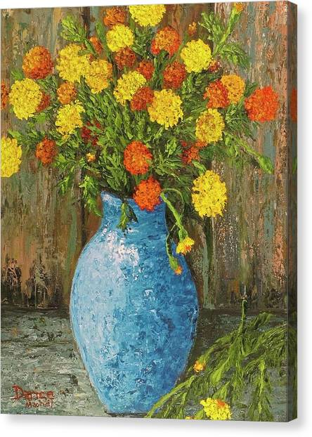 Vase Of Marigolds Canvas Print