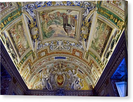 The Vatican Museum Canvas Print - Vatican Ceiling Paintings by Jon Berghoff