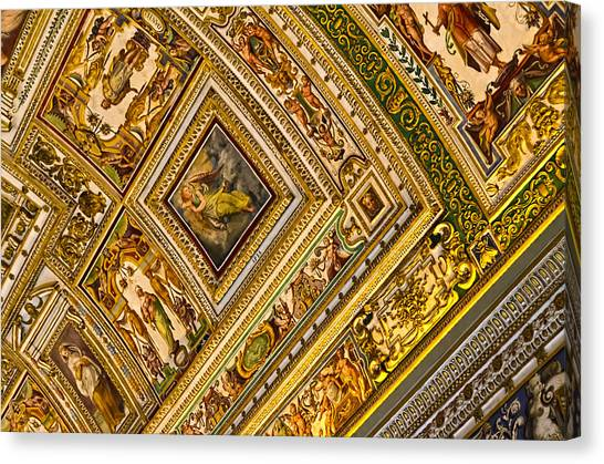 The Vatican Museum Canvas Print - Vatican Museum Ceiling Artwork by Jon Berghoff