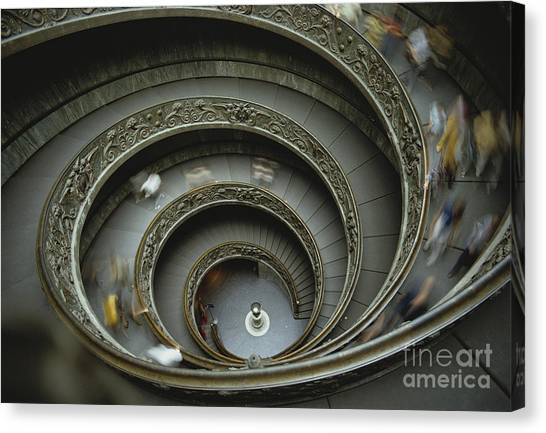 The Vatican Museum Canvas Print - Vatican Staircase by John G. Ross