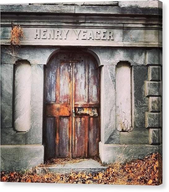 Vault Canvas Print - #vault #cemetery #philadelphia by Brian Harris