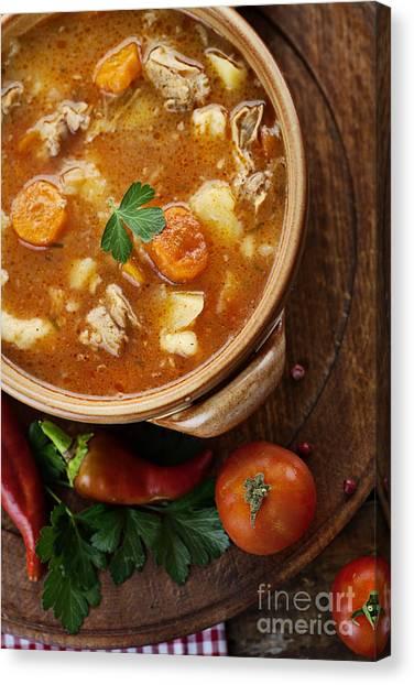 Crock Canvas Print - Veal Stew by Mythja  Photography