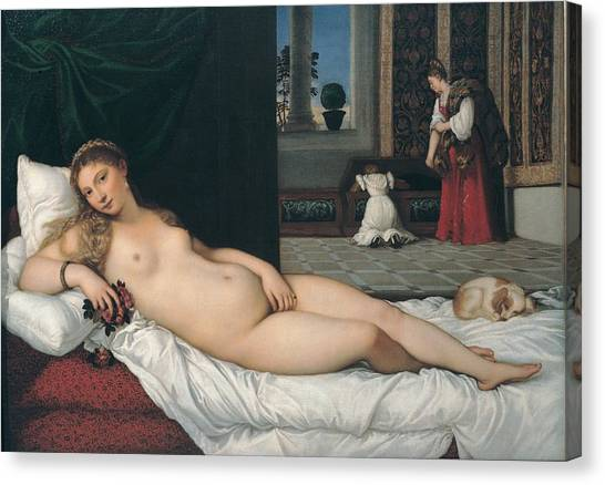 The Uffizi Gallery Canvas Print - Vecellio Tiziano Known As Titian, Venus by Everett