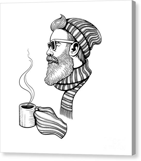 Winter Canvas Print - Vector Black And White Bearded Man With by Julia Waller