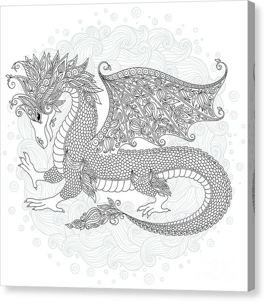 Vector Cartoon Dragon. Hand Drawn Canvas Print by Photo-nuke