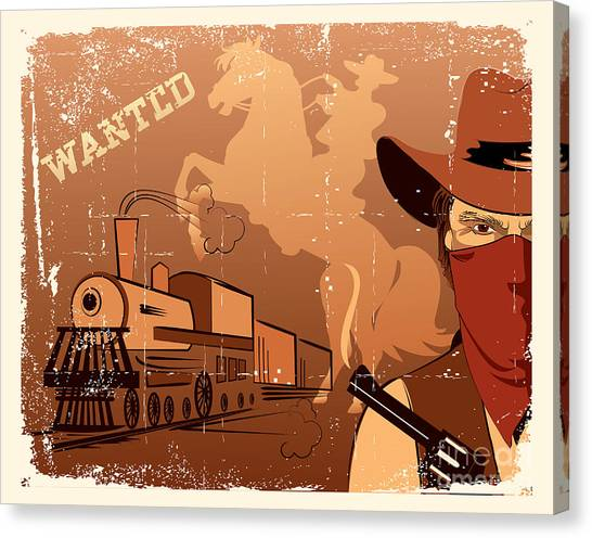 Gun Control Canvas Print - Vector Cowboy And Train. Western Grunge by Tancha